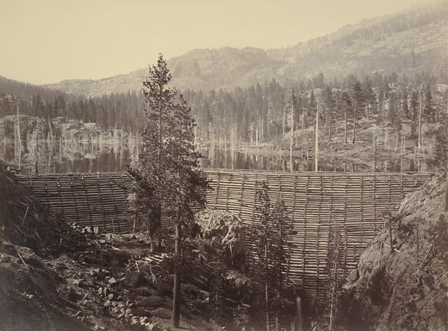 Timber and crib stone dam, circa 1871