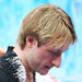 Evgeni Plushenko of Russia leaving the ice after he decided to withdraw from the men's short program.