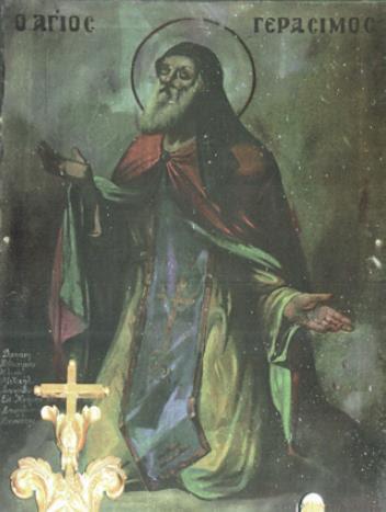 Ο Άγιος Γεράσιμος δεόμενος για την αίσια έκβαση της ναυμαχίας της Ναυπάκτου. Ιερός Ναος Αγίου Νικολάου Φαρακλάτων, 19ος αί.