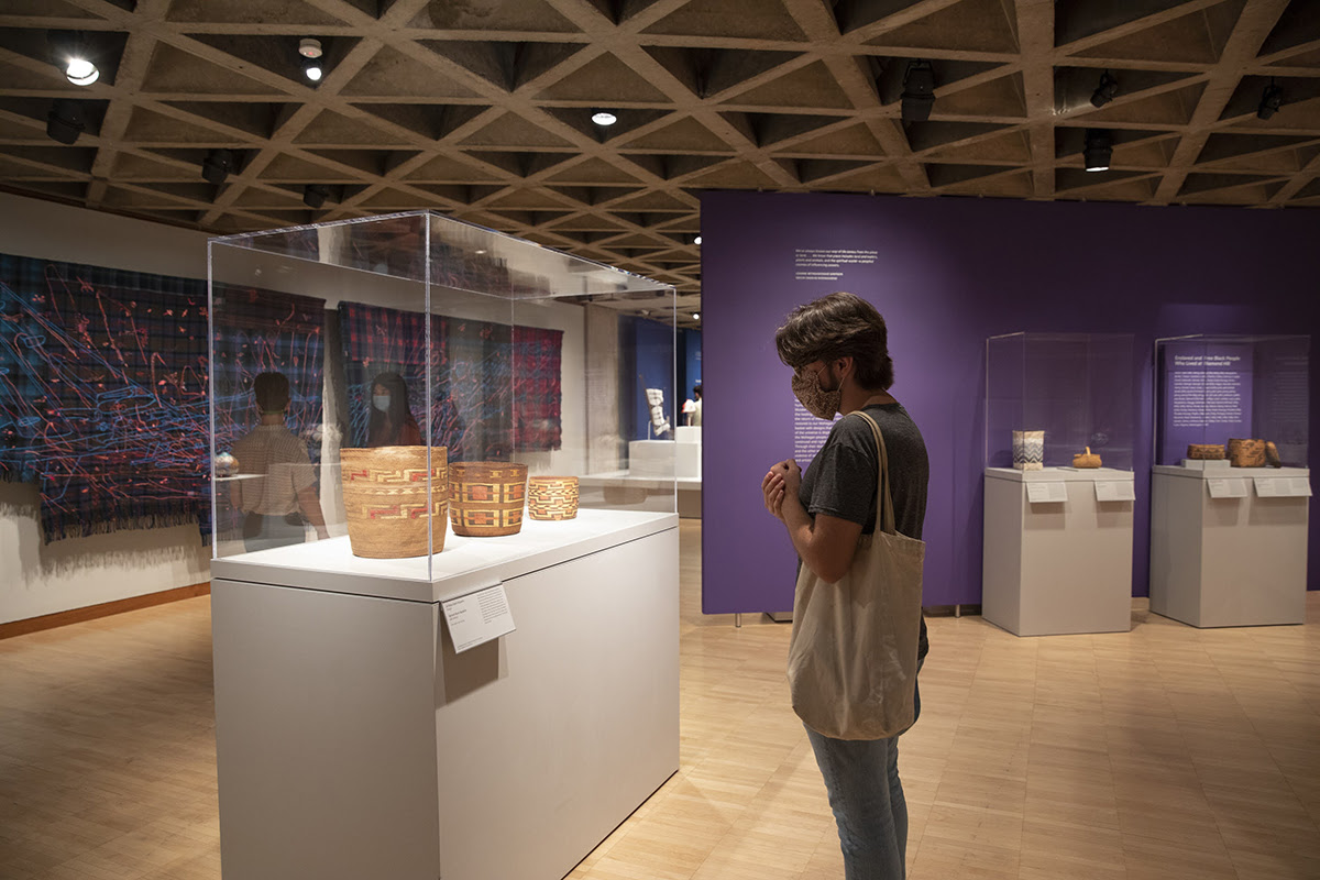 """Visitor viewing art in the exhibition, """"Place, Nations, Generations, Beings: 200 Years of Indigenous North American Art"""""""