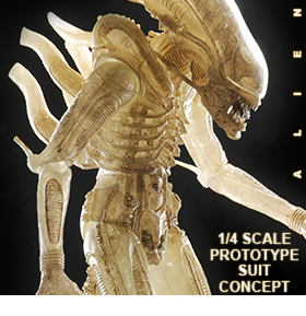 ALIEN TRANSLUCENT PROTOTYPE SUIT CONCEPT FIGURE - 1/4 SCALE