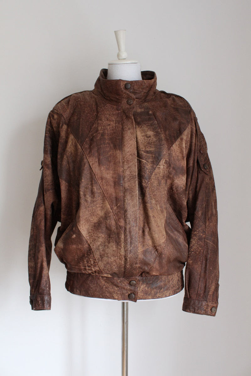 VINTAGE GENUINE LEATHER PATCH JACKET - SIZE 12