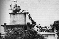 Evacuees are helped aboard a helicopter. Link goes to the American Experience PBS page.
