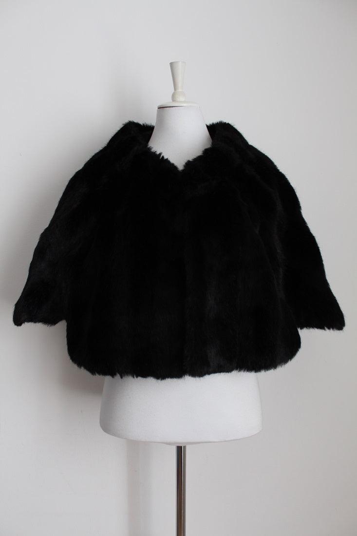 VINTAGE FAUX FUR BLACK SHRUG COAT - ONE SIZE