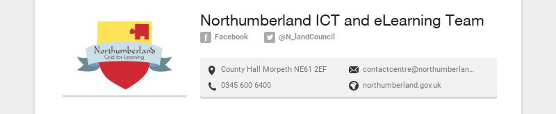 Northumberland ICT and eLearning Team Facebook @N_landCouncil County Hall Morpeth NE61 2EF...