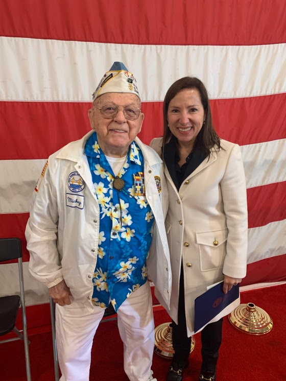 Photo of Pearl Harbor survivor Mickey Ganitch and CA Lt. Governor Elini Kounalakis