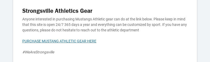 Strongsville Athletics Gear Anyone interested in purchasing Mustangs Athletic gear can do at the...