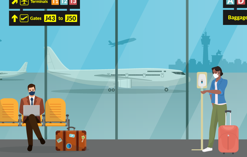 illustration of two people in an airport terminal wearing masks and maintaining six-feet distance