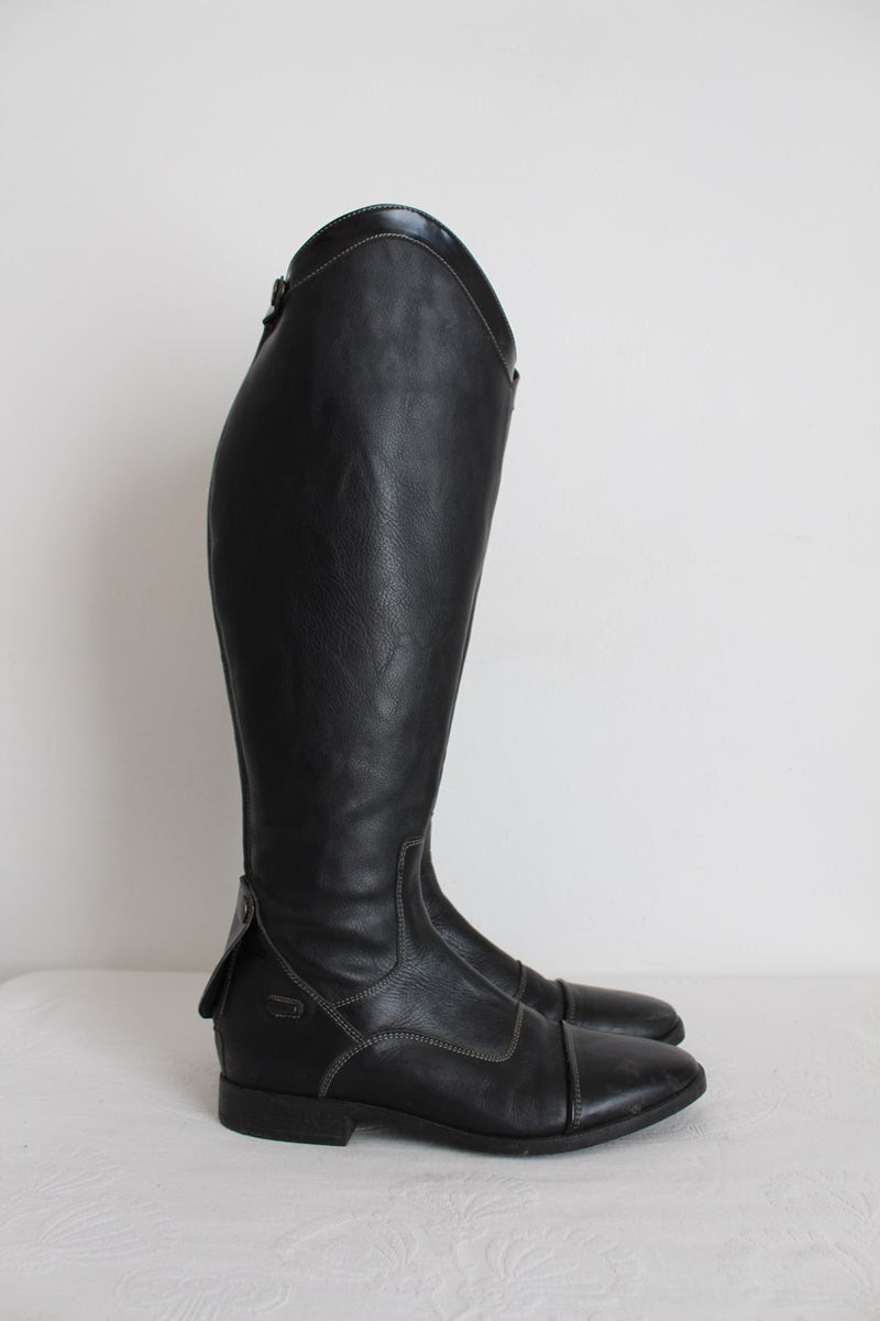 GENUINE LEATHER BLACK RIDING BOOTS - SIZE 6