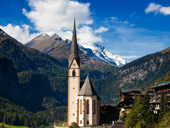 St.                                                           Vinzenz Church                                                           in                                                           Heiligenblut                                                           sits at the                                                           foot of                                                           Austria's                                                           tallest peak,                                                           and while the                                                           church itself                                                             is pretty,                                                           it's the                                                           surrounding                                                           peaks and                                                           valleys of the                                                           Alps that                                                           really make                                                           this eye                                                           candy.