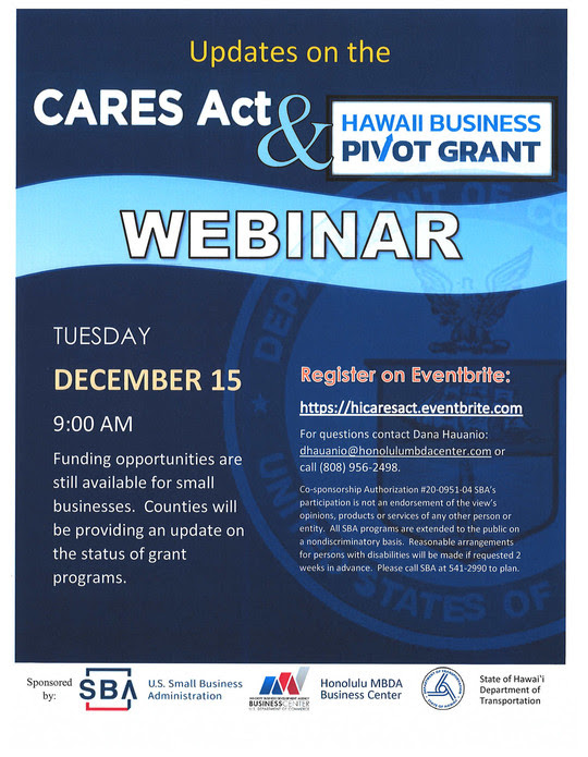 CARES Act Webinar Dec 15 20 flyer