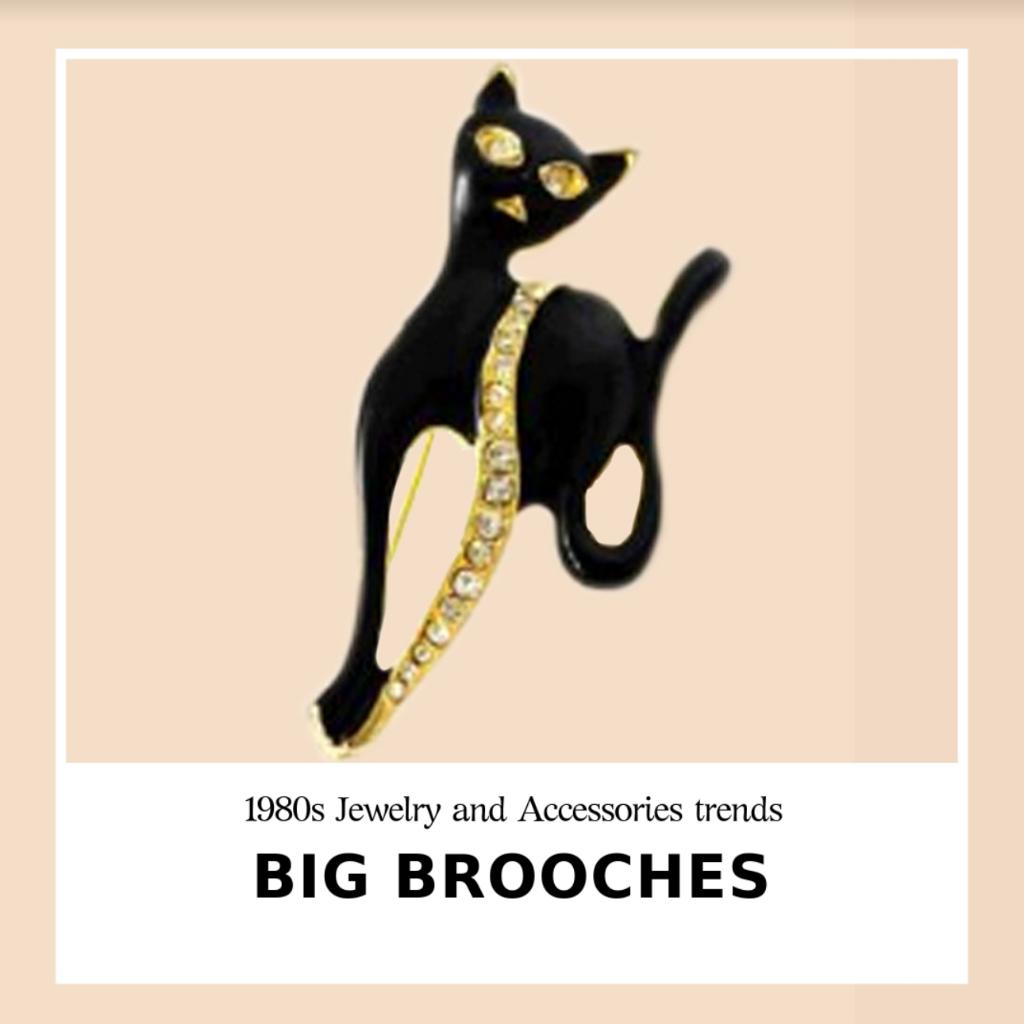 black cat pin brooch vintage 80s