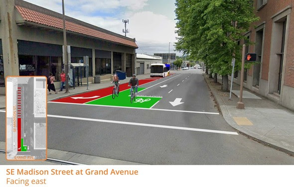 A rendering of the SE Hawthorne-Madison improvements, including a bright red bus lane and green bike box.