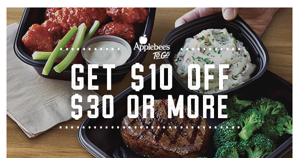 Applebee's To Go℠ Get $10 off  $30 or More