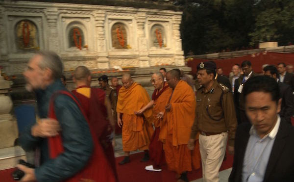 His Holiness the Dalai Lama visiting the Mahabodha Temple, the site of Buddha's enlightenment, 29 December 2016.