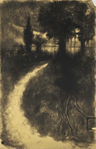 Omar Galliani.  Sui tuoi passi, 1986, carboncino su carta intelata, cm 200X125