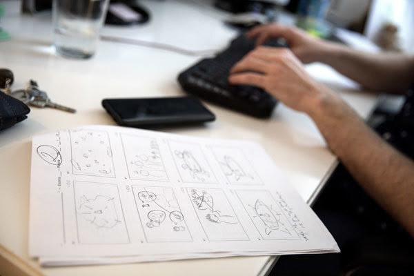 Detalle de un 'storyboard' de los vídeos divulgativos de Crespo.