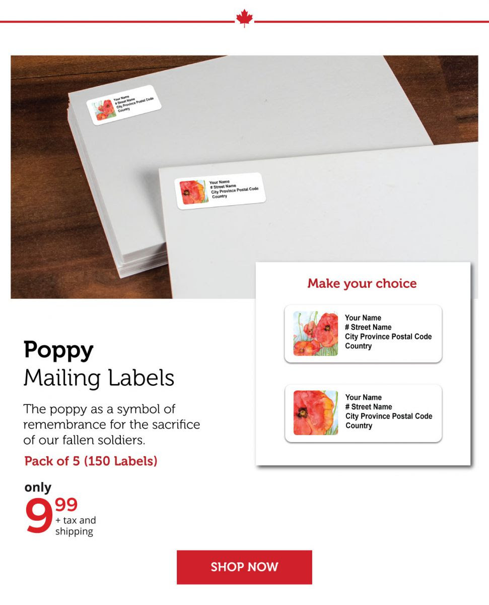 Poppy Mailing Labels