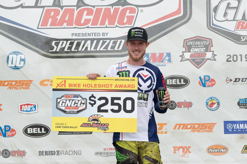 Jordan Ashburn picked up an extra $250 after earning the All Balls Racing holeshot award.