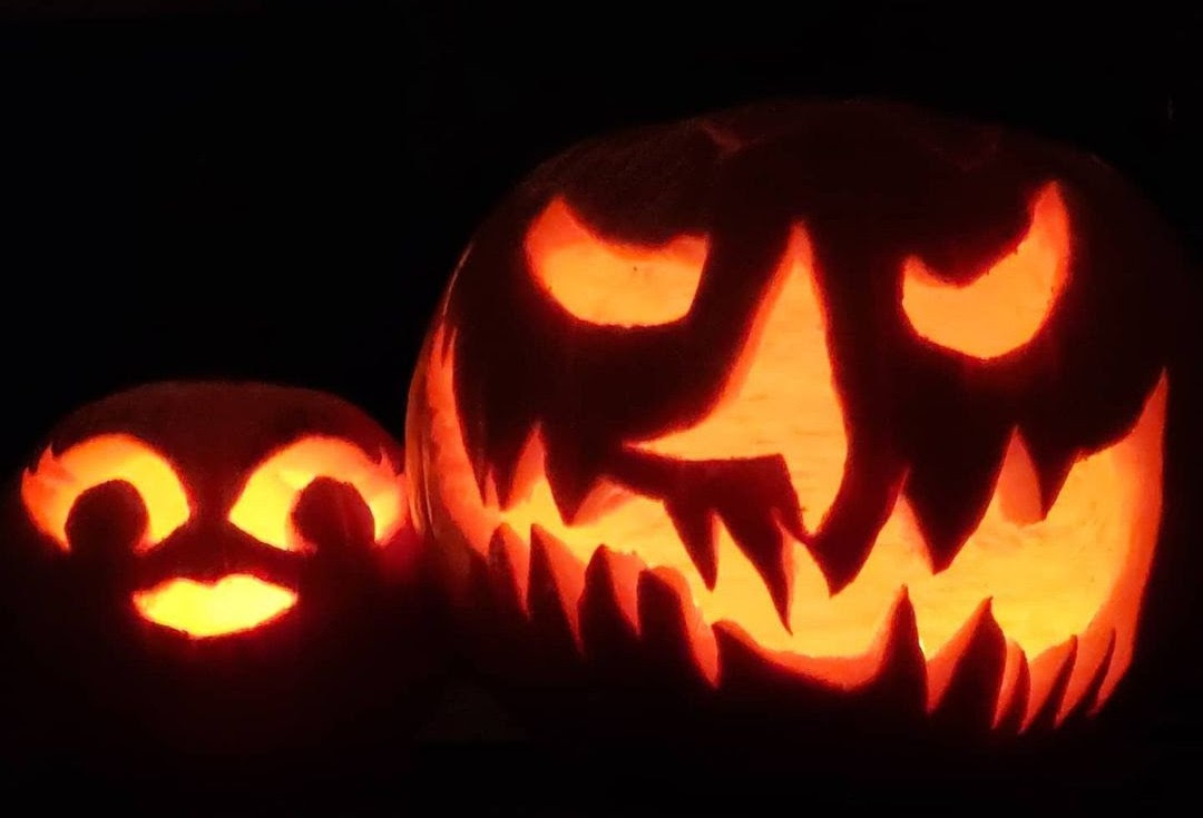 Spooky and adorable carved pumpkins