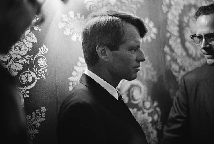 RFK prepares to speak in the wee hours of June 6, 1968. (Frank Carroll/NBCU Photo Bank)