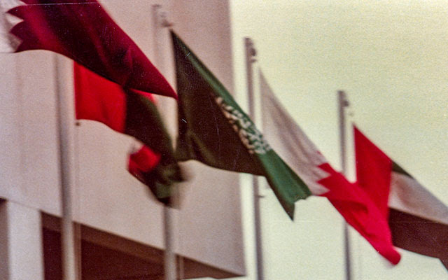 Flags of the member states fly at the 1st GCC Summit in Abu Dhabi, UAE. Photo: Dr. John Duke Anthony, 1981.