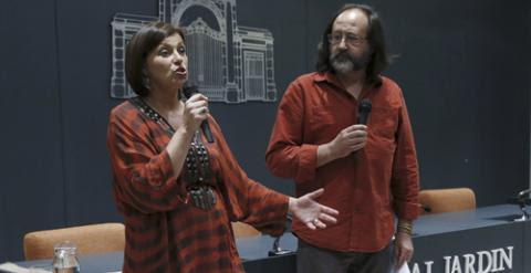 Cote Romero y Luis Miguel Domínguez, durante la presentación en Madrid de la Alianza por el Clima. EFE