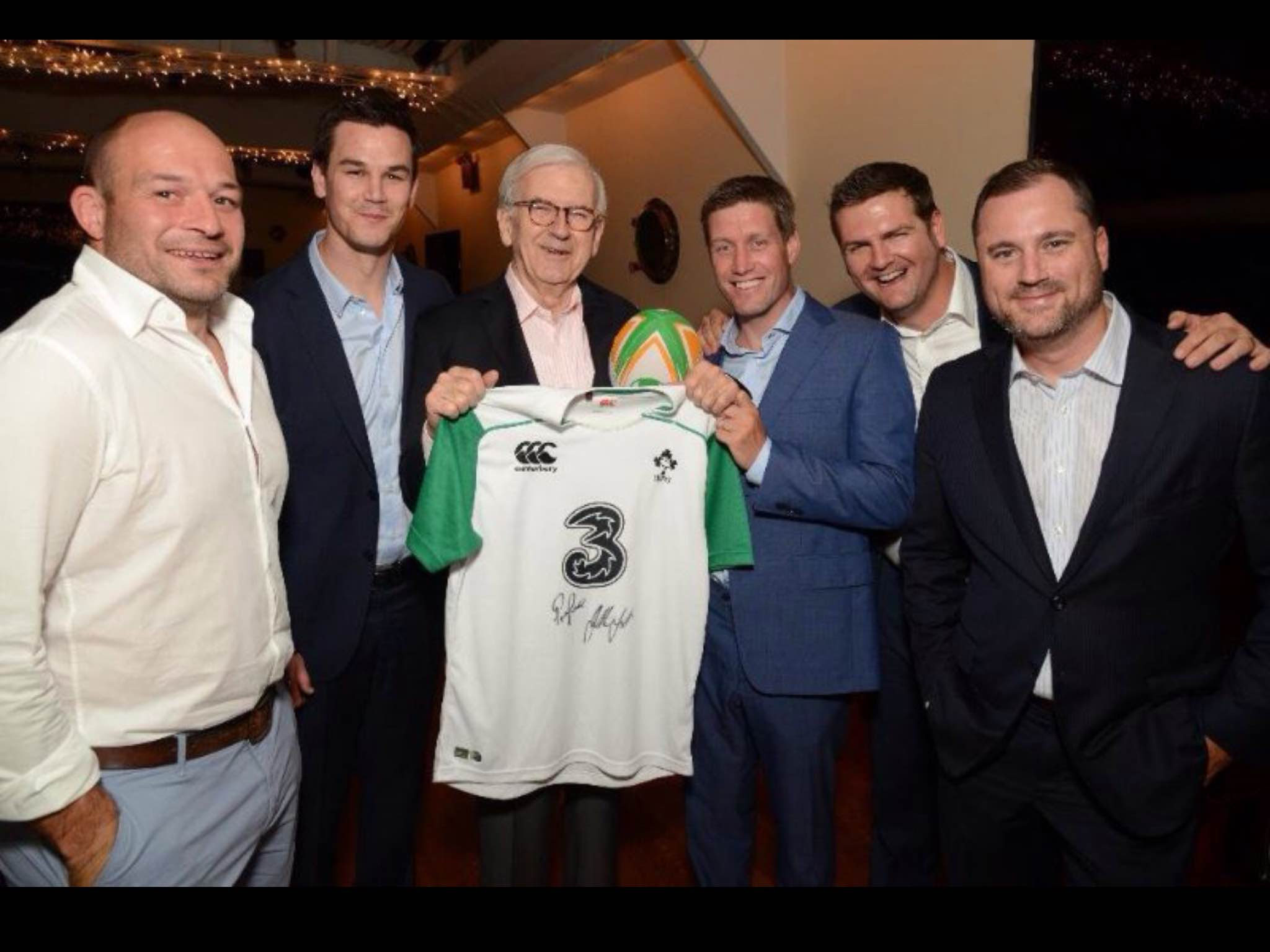 L to R (Rory Best, Johnny Sexton, Buzzy O'Keefe, Ronan O'Gara, David Evans, Sean Gaffey
