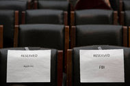 Chairs reserved for a Congressional hearing on encryption in March. It remains unknown how an outside group demonstrated to the F.B.I. how to unlock an iPhone.