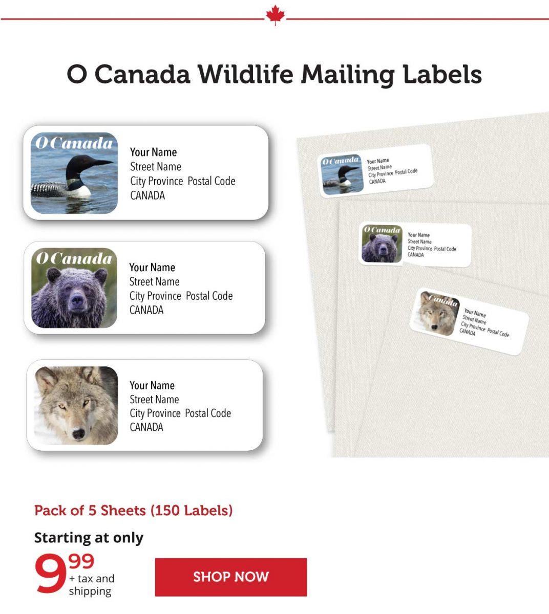 O Canada Wildlife Mailing Labels