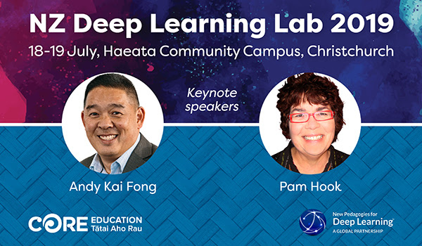 NZ Deep Learning Lab 2019, 18-19 July, Haeata Community Campus, Christchurch. Keynote speakers Andy Kai Fong and Pam Hook.