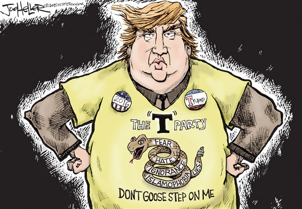 T party, Joe Heller,Green Bay Press-Gazette,T party, tea party, Donald Trump, hate, fear, ignorance, lies, political, brown shirt, nazi, hitler, goose step, treat on me, snake, muslims, islam, ban