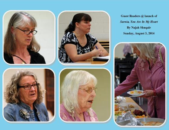 Several guest readers: TOP (l to r): Anne Mason, Wendi Anderson; BOTTOM; Wendy Washing and Norma West Linder. MISSING: Debbie Okun Hill
