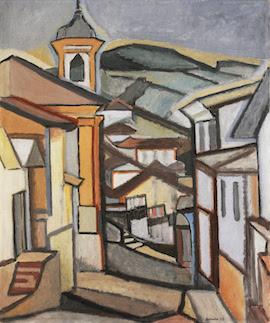 Autor: Aldo Bonadei - Óleo sobre a tela - Dimensões: 78 cm x 65 cm - ano: 1955