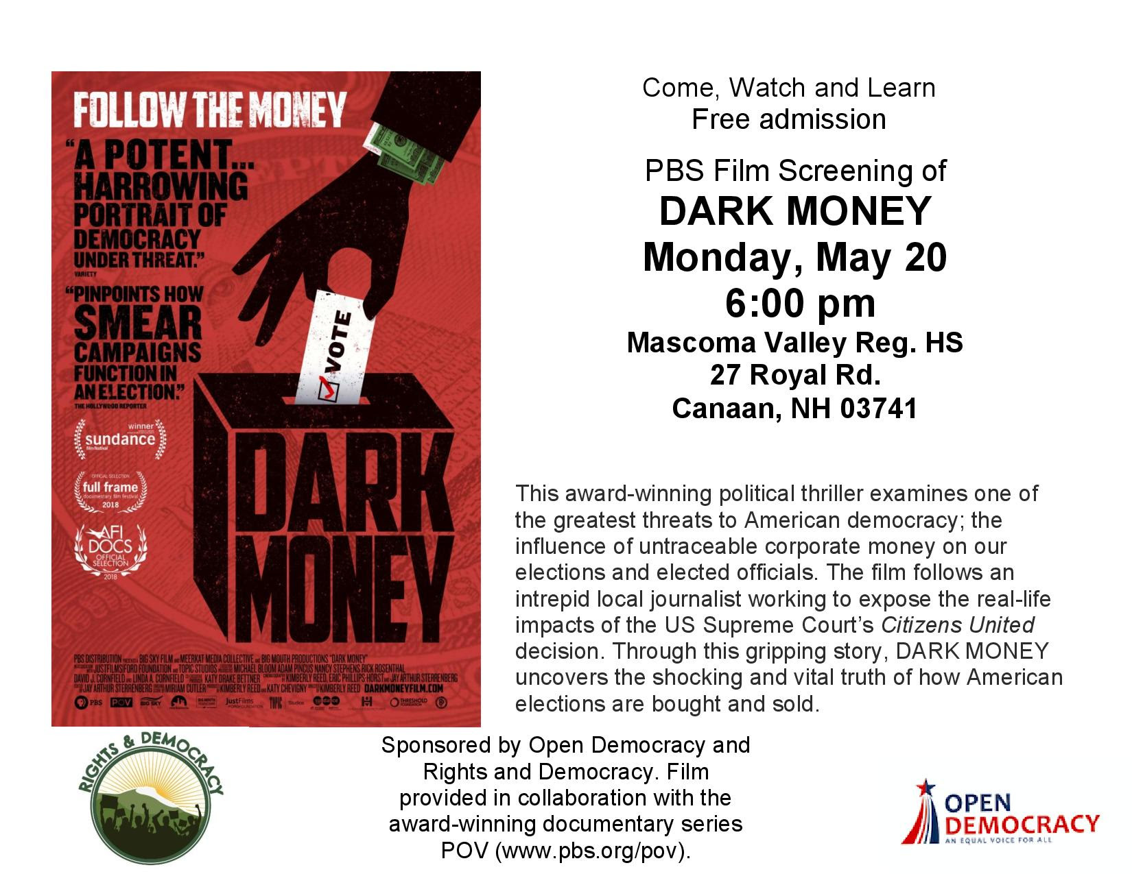 Poster for screening of Dark Money film