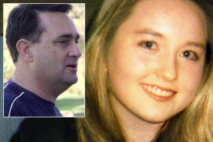 An inset image of Bradley Edwards in a blue T-shirt alongside an old family photo of Sarah Spiers wearing a black top.