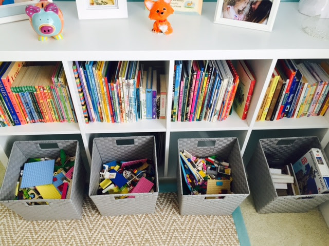 Out of sight, out of mind...baskets are great for things like stuffed animals, legos, random items, etc.