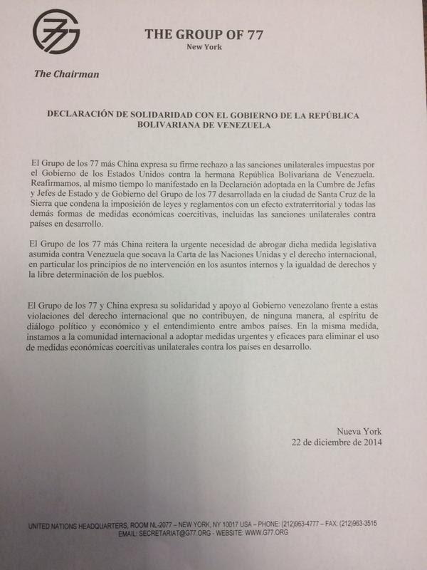 Sacha Llorenti , Representante Permanente y Embajador de Bolivia ante las Naciones Unidas publicó el documengto en su cuenta Twitter.
