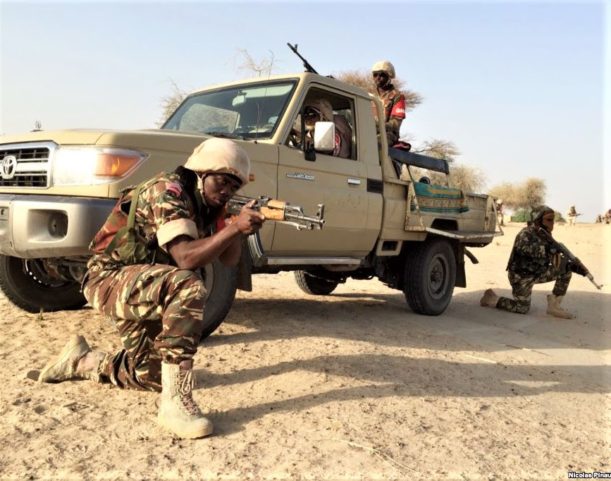 Members of the Nigerian army, which has retaken territory from Boko Haram but struggles to contain terrorist strikes. (Wikipedia, VOA Nicolas Pinault)