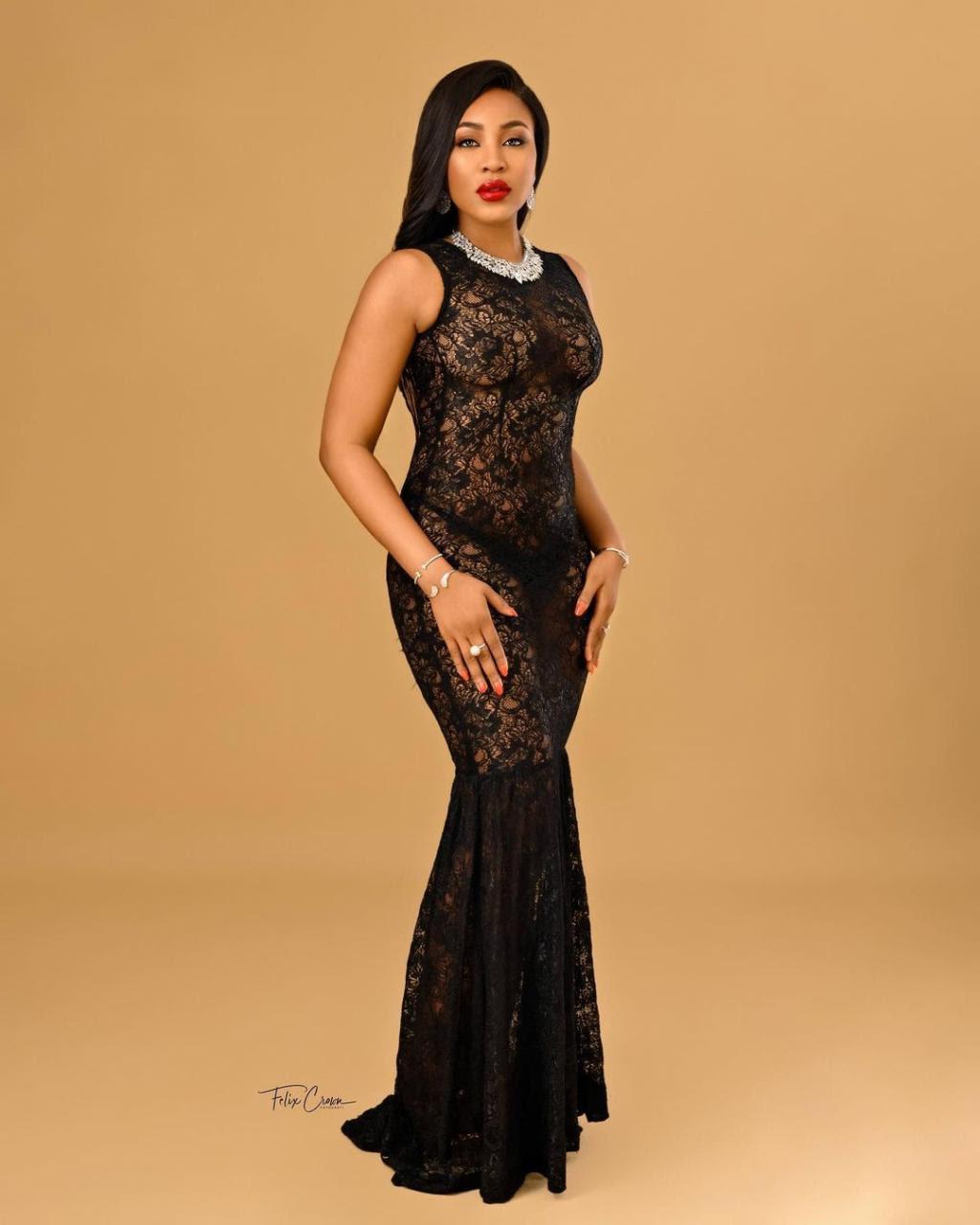 BBNaija star, Erica Nlewedim, flashes her boobs in lacy black dress (photos)