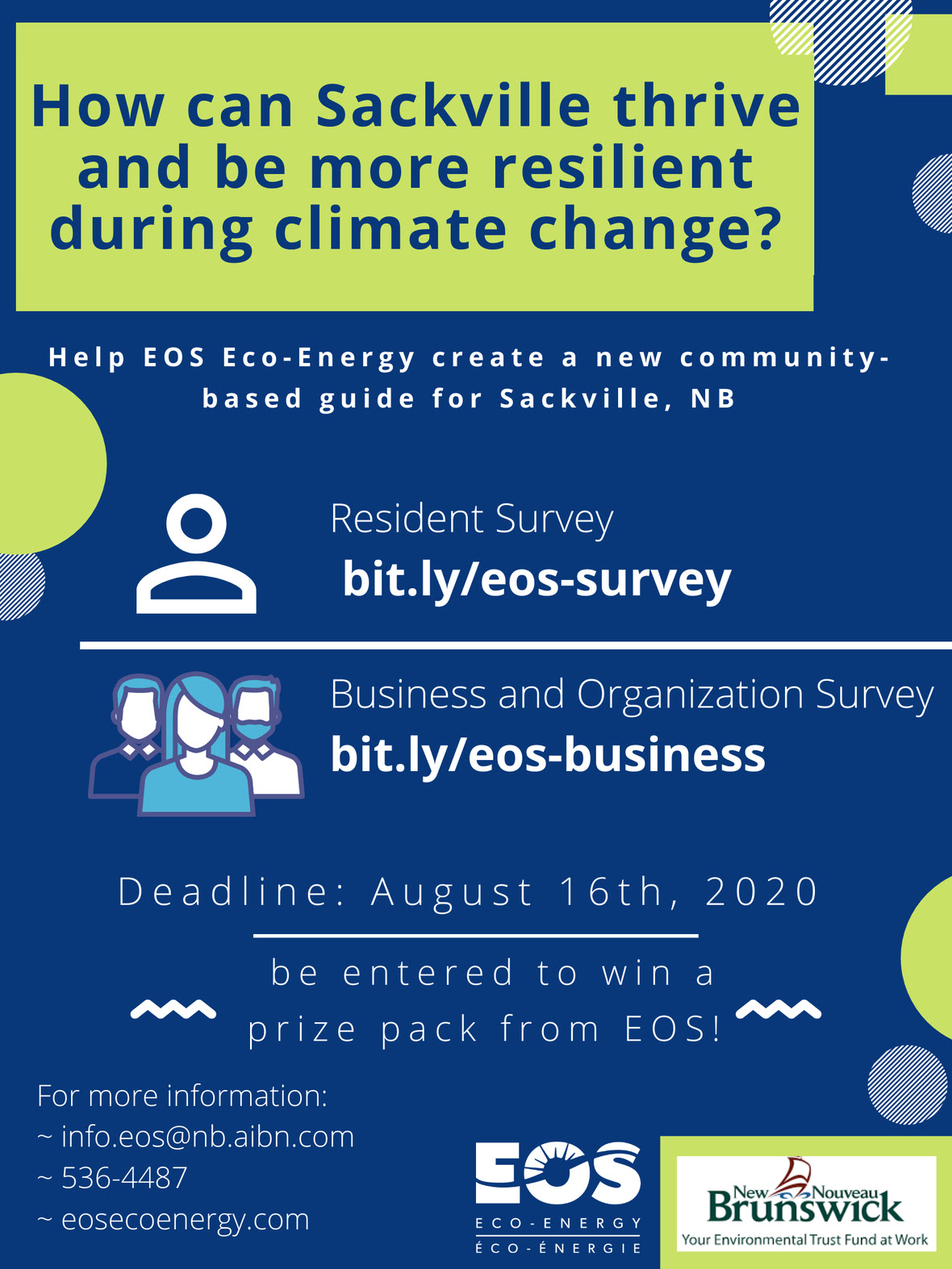 How can Sackville thrive and be more resilient during climate change? Help EOS Eco-Energy create a new community-based guide for Sackville, NB.