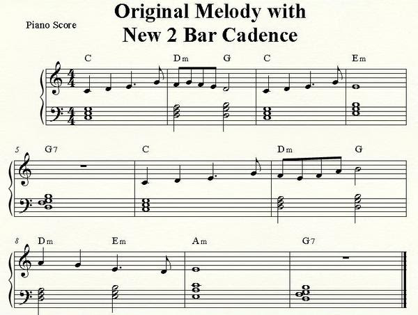 Original Melody with New 2 Bar Cadence