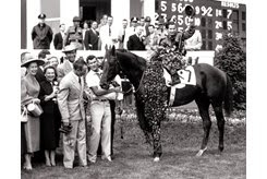 Swaps and Bill Shoemaker in the winner's circle after the 1955 Kentucky Derby