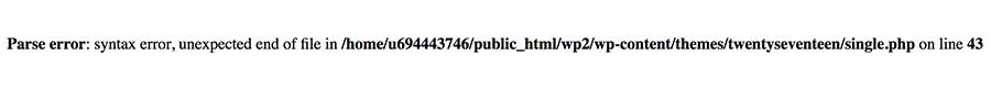 Parse error: syntax error, unexpected on WordPress