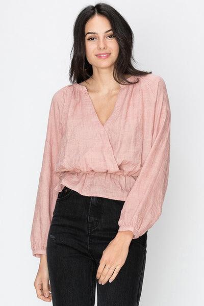 Chinese collar gathered bottom surplice blouse