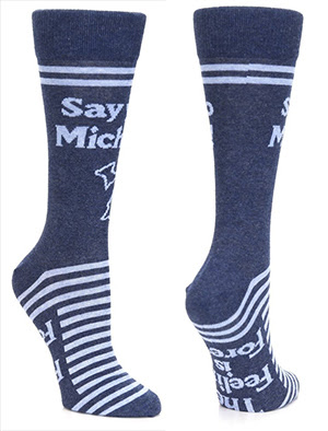Two blue socks with white stripes and lettering