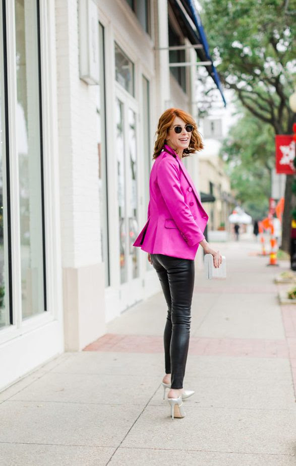 Over 50 Dallas Blogger wearing Pink Blazer by Veronica Beard