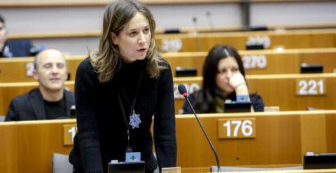 La europarlamentaria Marina Albiol durante una sesión plenaria, en febrero. Archivo del PE.