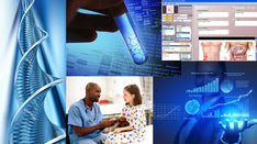 DNA, a hand holding a test tube, electronic health record, a doctor talking to a child, and a person looking at data