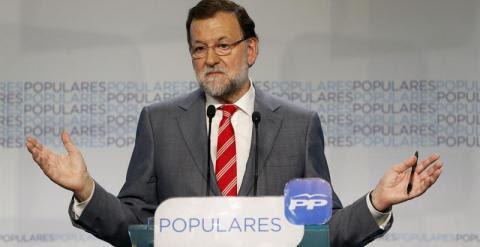 El presidente del Gobierno, Mariano Rajoy, durante la rueda de prensa ofrecida tras la reunión del Comité Ejecutivo Nacional del PP celebrada el lunes en Madrid.- EFE
